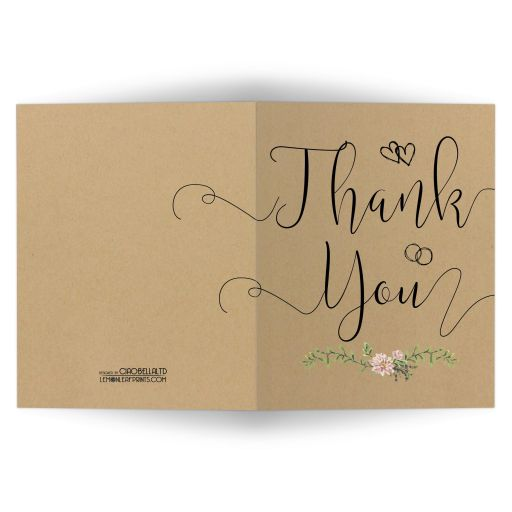 Bohemian Chic Simulated Kraft Paper And Greenery Thank You Card