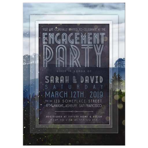 Nature Outdoors theme Engagement Party invite