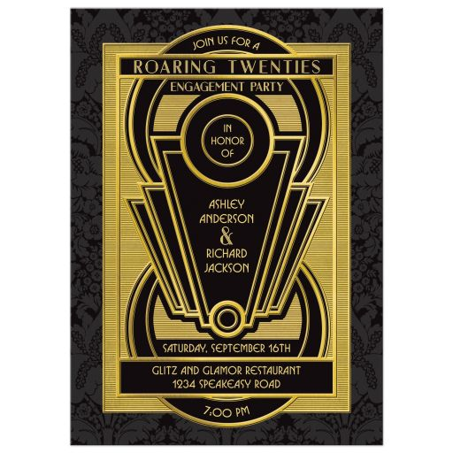 Roaring twenties art deco black and gold engagement party invitation front