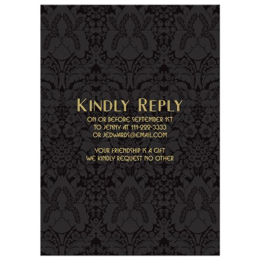Roaring twenties art deco black and gold engagement party invitation​ back