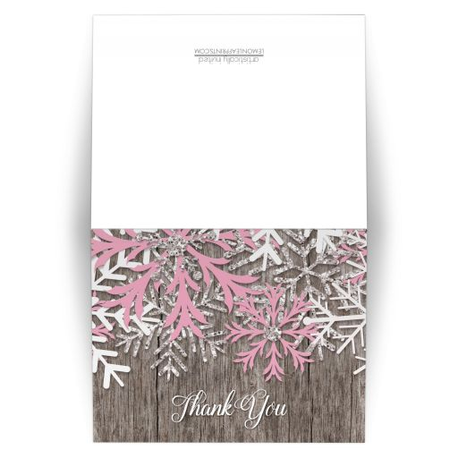 Thank You Cards - Rustic Winter Wood Pink Snowflake