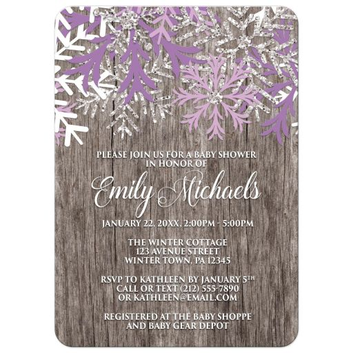 Baby Shower Invitations - Purple Snowflake Rustic Winter Wood