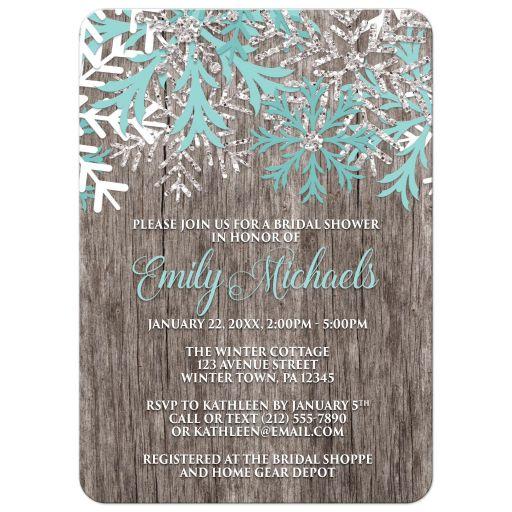Bridal Shower Invitations - Teal Snowflake Rustic Winter Wood