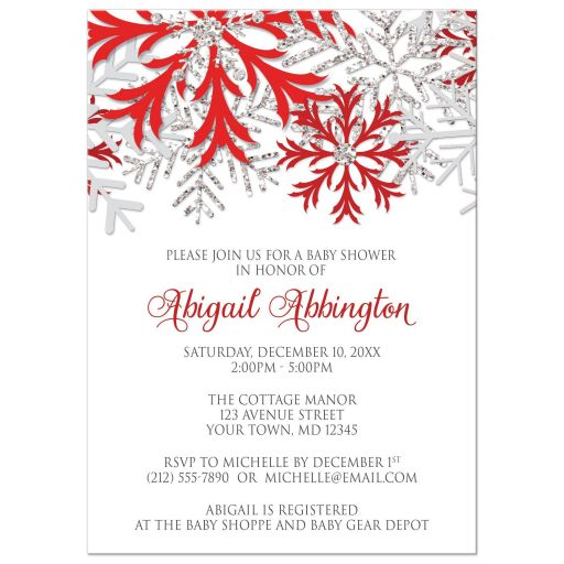 Baby Shower Invitations - Winter Snowflake Red Silver