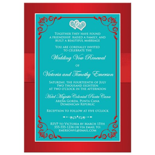 Red and turquoise blue floral wedding invitation with red ribbon, bow, jeweled joined hearts, aqua glitter and ornate scrolls and flourish.