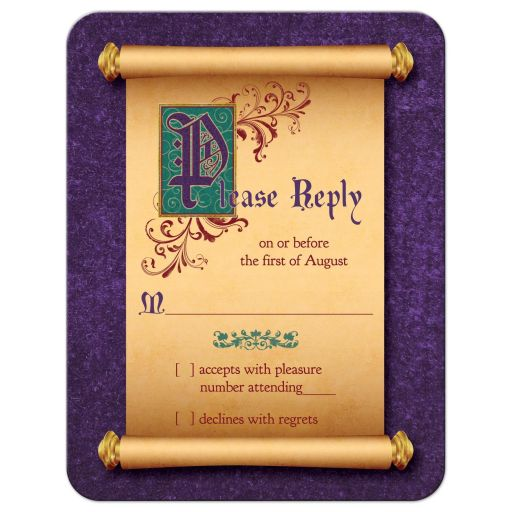 Unique medieval scroll and illuminated text once upon a time fairytale wedding RSVP card front