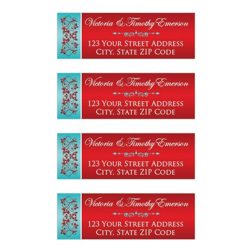 Personalized turquoise blue and red floral return address labels with white text and teal blue scroll.
