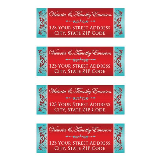 personalized red and teal blue wedding address labels, custom red and turquoise blue wedding label, customizable teal and red floral return address labels, red and turquoise double hearts wedding invites, great African-American wedding invitations, blue and red wedding vow renewal invites, destination wedding invitations, tropical wedding invitations, best indian wedding cards, hindu invitations, floral wedding invitation, beautiful wedding invitations, affordable indian wedding invites, niteowlstudio, niteowl studio invitations