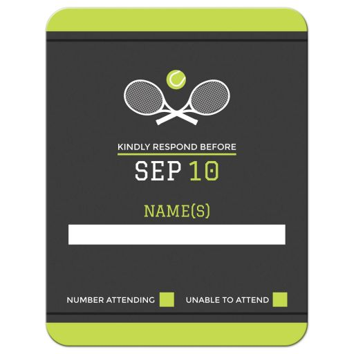 Tennis themed bar mitzvah RSVP card