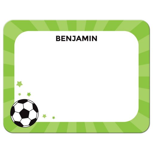 Soccer ball note card stationery for kids with personalized name
