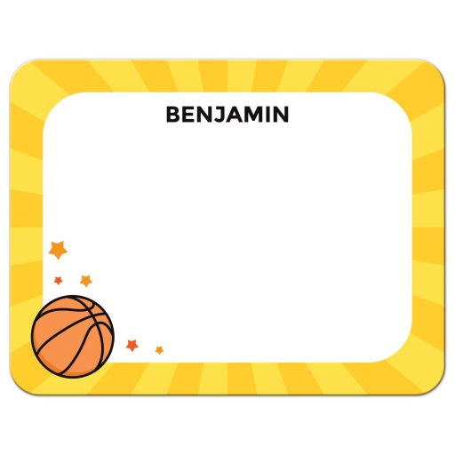 Basketball note card with personalised name