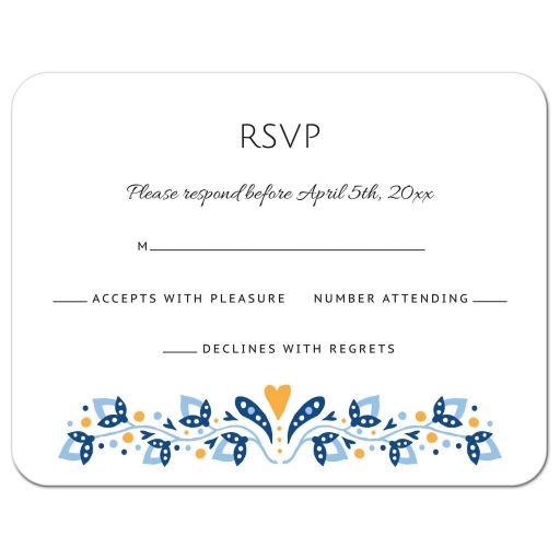 Modern folk art floral border RSVP card