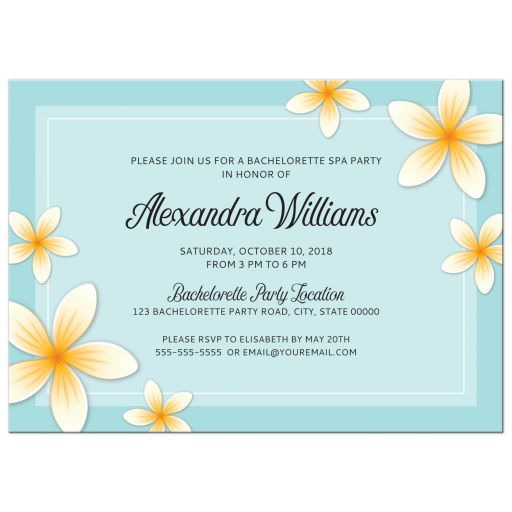 Elegant spa bachelorette party invitation with plumeria flowers