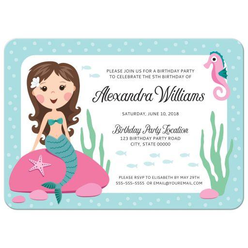 Mermaid birthday party invitation for girls