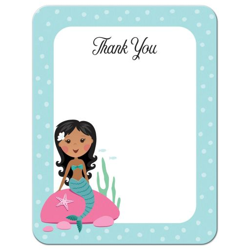 Mermaid birthday party thank you card with african american or asian girl