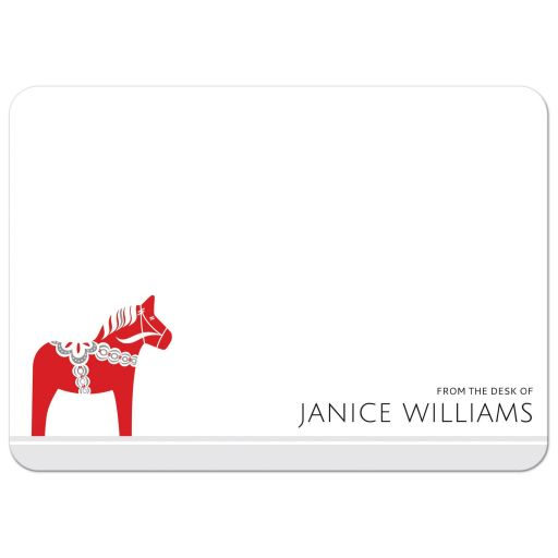 Dala horse scandinavian note cards with personalized name