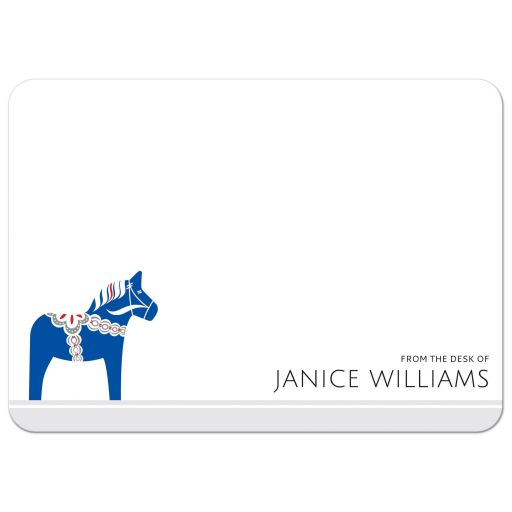 Blue Dala horse stationery note card with personalized name
