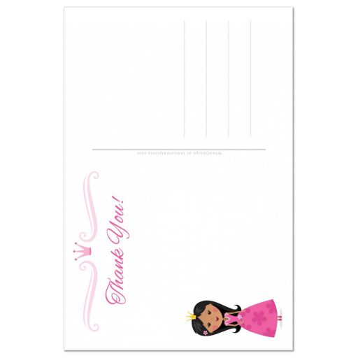 Princess thank you card with african american or asian girl