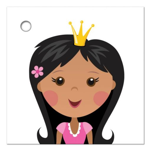 Princess favor thank you tag with african american or asian girl
