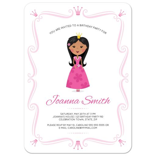 Princess birthday party invitation with african american or asian girl and pink, ornate border