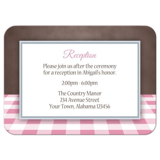 Enclosure Cards - Pink Gingham and Brown - 4Bar