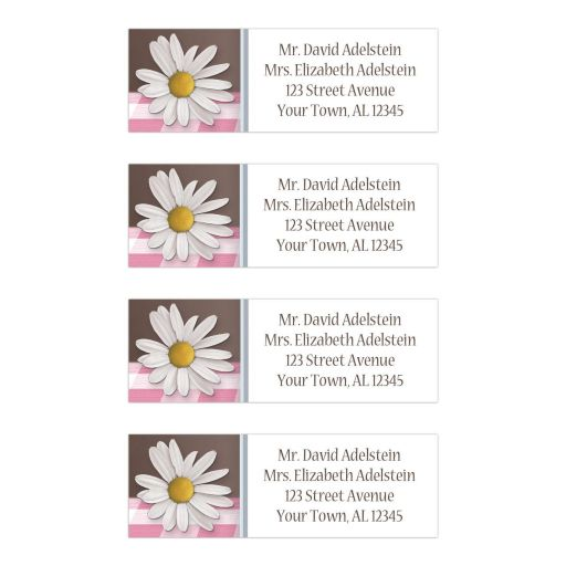 Address Labels - Daisy Pink Gingham Brown