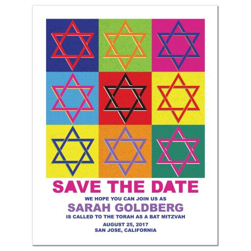 Unique pop art Star of David Bat Mitzvah save the date card