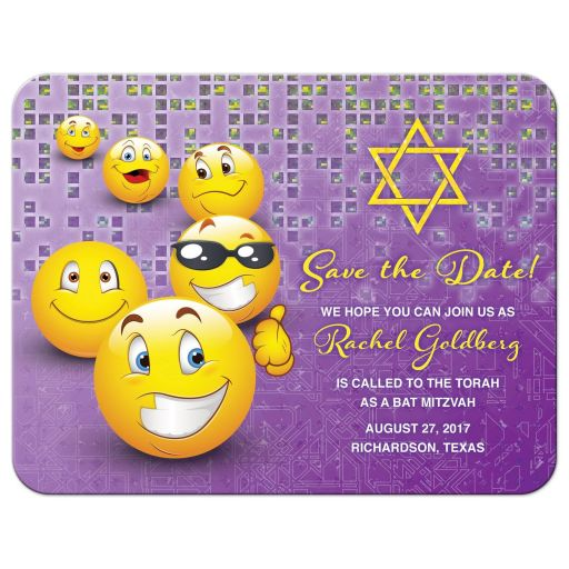 Purple and yellow social media smiley face emoji Bar Mitzvah save the date card front