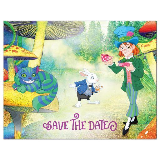 Alice in Wonderland Bat Mitzvah save the date postcard front
