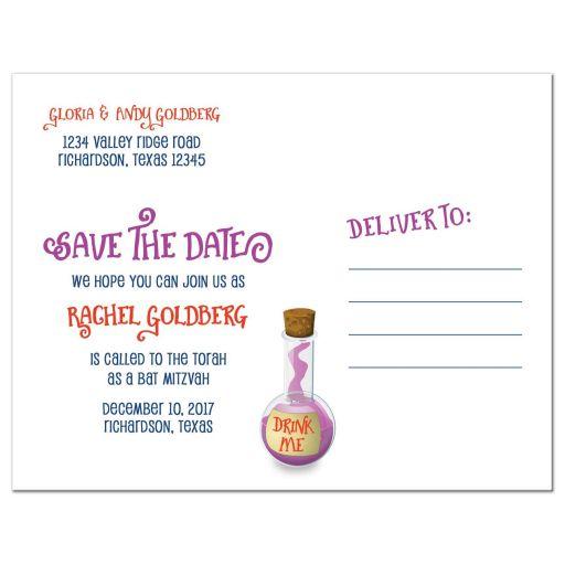 Alice in Wonderland Bat Mitzvah save the date postcard back