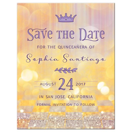 Magical ballroom fairy tale once upon a time Quinceañera birthday save the date announcement front