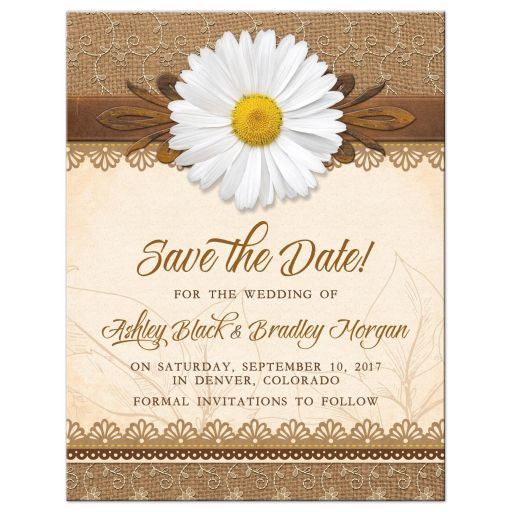 Rustic white daisy, lace, burlap and wood country wedding save the date announcement front