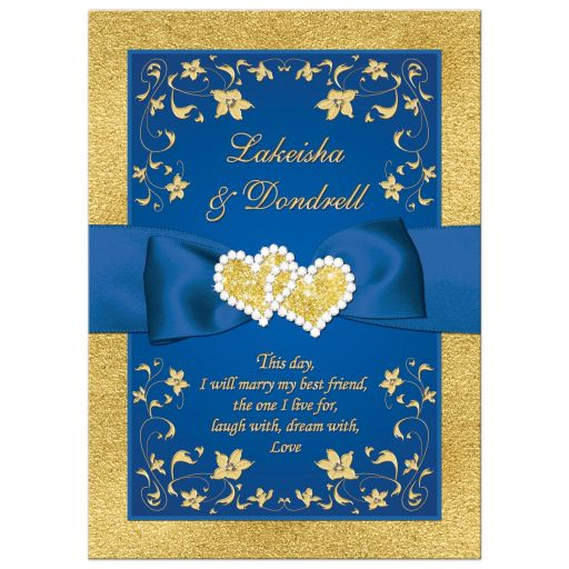 Rroyal blue and gold foil and floral wedding invitation with joined jewel hearts and ribbon.
