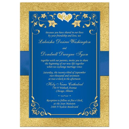 Royal blue and gold foil and floral wedding invitation with joined jewel hearts and ribbon.