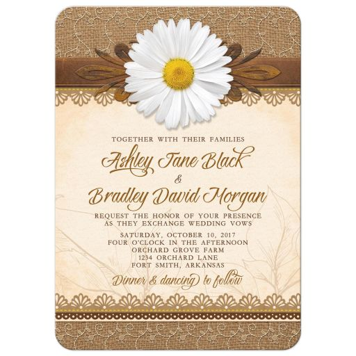 Rustic white daisy, lace, burlap and wood country wedding invitation front
