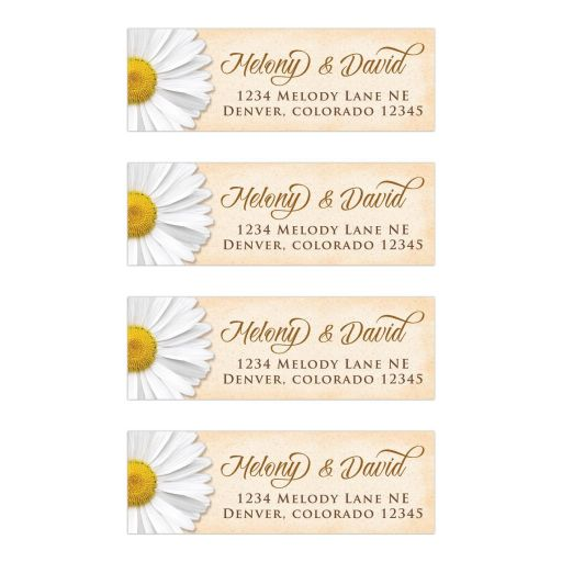 ​Rustic parchment and white daisy wedding address labels