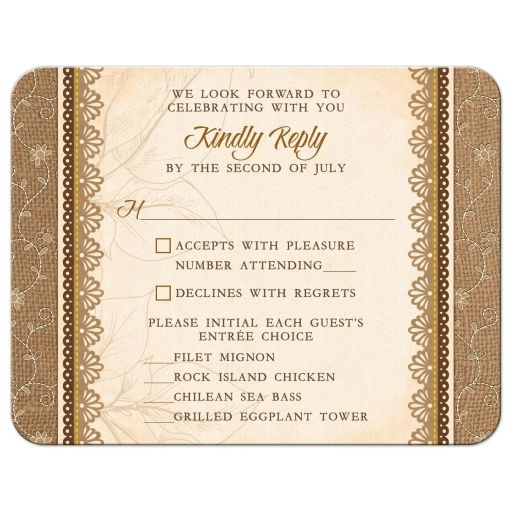 Elegant rustic burlap and lace wedding meal choice reply card front