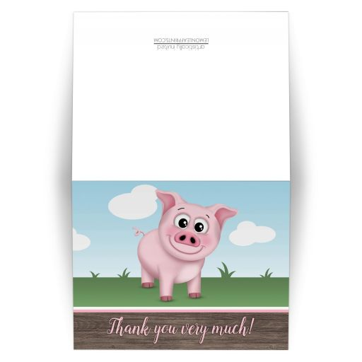 Thank You Cards - Happy Pink Pig on the Farm - Barnyard