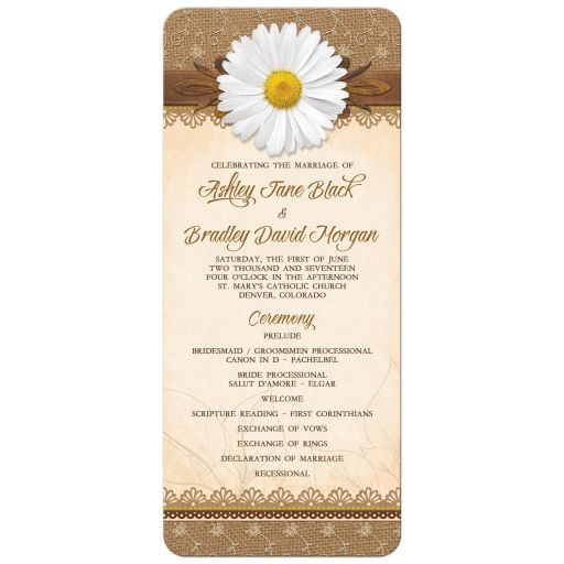Rustic lace, burlap, wood and white daisy country wedding program front