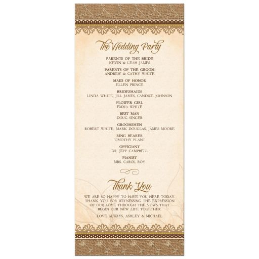 Rustic lace, burlap, wood and white daisy country wedding program back