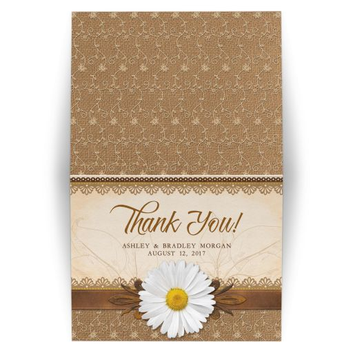 Rustic lace, burlap, wood and white daisy country personalized wedding thank you card