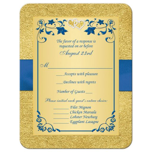 royal blue and gold foil and floral wedding rsvp card insert with joined jewel hearts and ribbon.