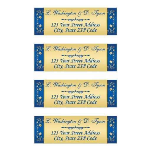Personalized Gold Tone and Royal Blue Floral Return Address Mailing Labels with Flourish.