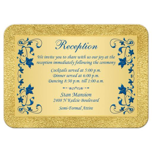 Royal blue and gold floral wedding reception enclosure card insert.