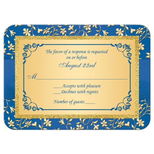Royal blue and gold foil and floral wedding response reply RSVP enclosure card insert with joined jewel and glitter hearts, ribbon and bow.