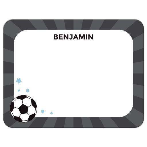 Soccer ball on gray sunburst notecard stationery for boys