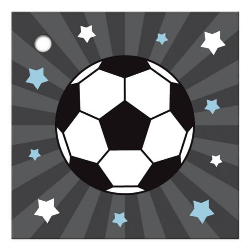 Soccer favor tag with soccer ball surrounded by stars