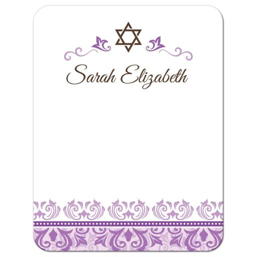 Purple damask bat mitzvah note card with personalized name or other short text