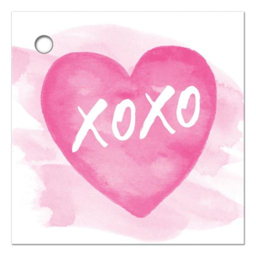 "Valentines day favor tag or gift tag with pink watercolor heart and white text ""xoxo"""
