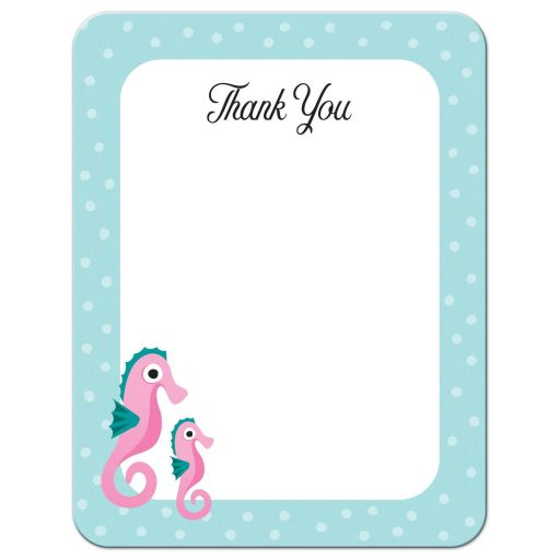 Seahorse thank you note card with pink cartoon seahorses